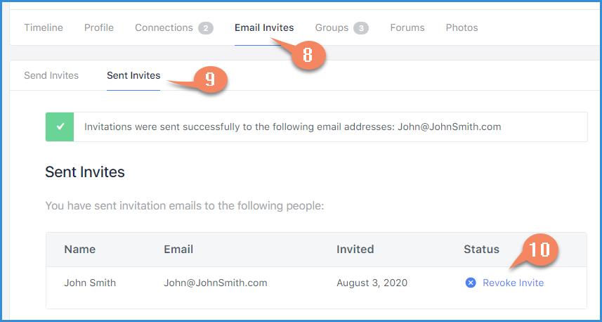 Profile Sent Email Invite